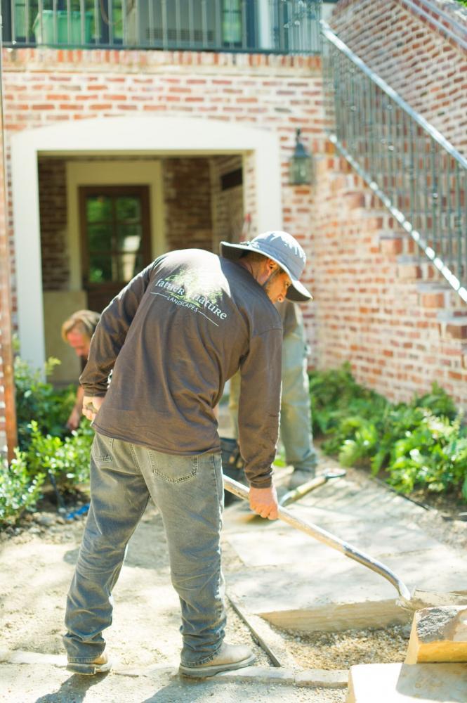 Professional landscaper at work.